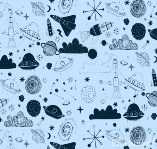 Out Of This World Navy Print Minky By EZ Fabric