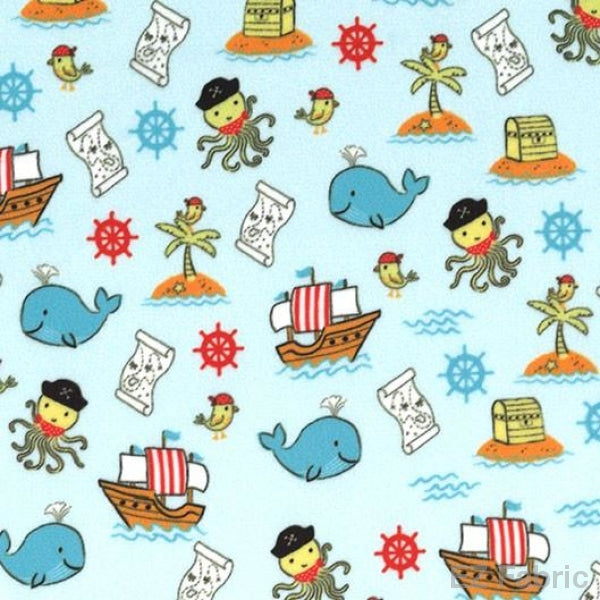 Smooth Pirate Tales Print On Minky Fabric Blue /