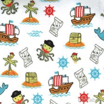 Smooth Pirate Tales Print On Minky Fabric White /