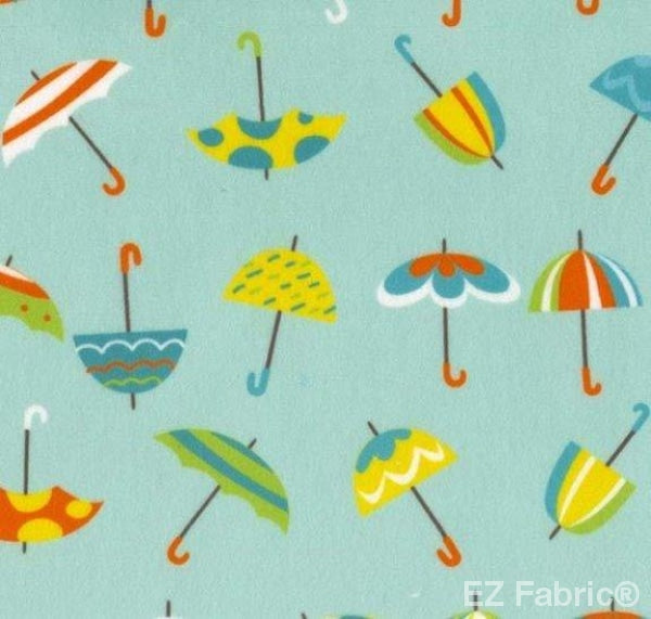 Sunny Day Umbrella Print on Minky Fabric by EZ Fabric