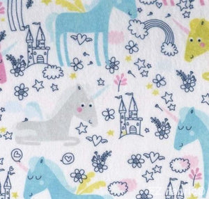 Unicorn Doodle White Print Minky By EZ Fabric