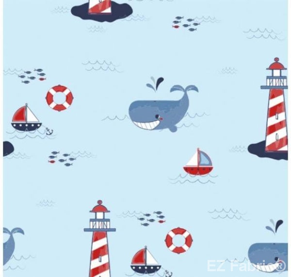 Lighthouse Light Blue on Minky Fabric by EZ Fabric