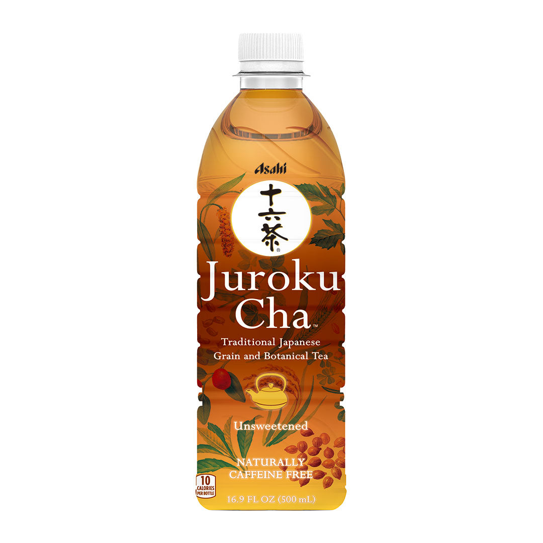 Asahi Jyuroku Cha 16 Blended Caffeine Free Tea 16.9 fl oz (500ml) x 12 bottles [Japanese Grocery Delivered to NY, NJ]