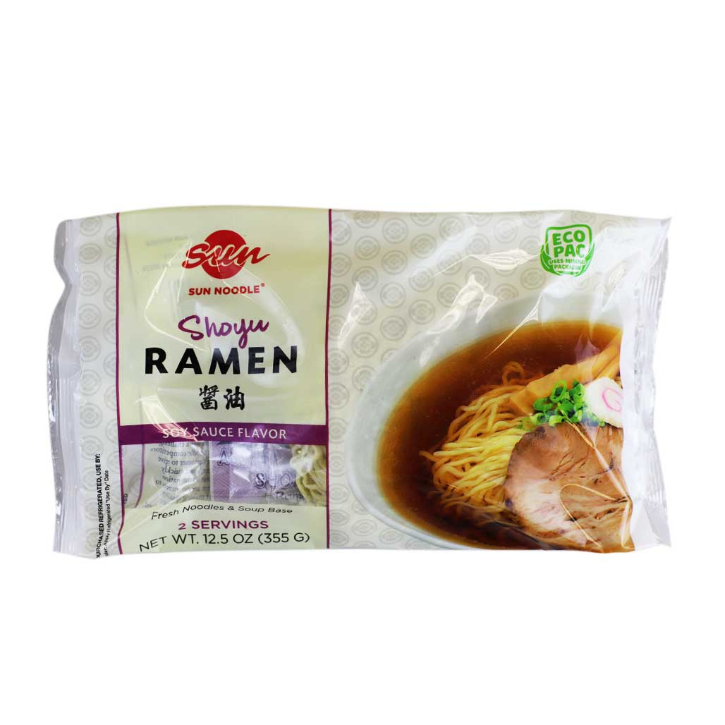 Sun Noodle Shoyu Ramen Noodle with Soup 2 Servings Japanese Grocery Deliver to NY NJ