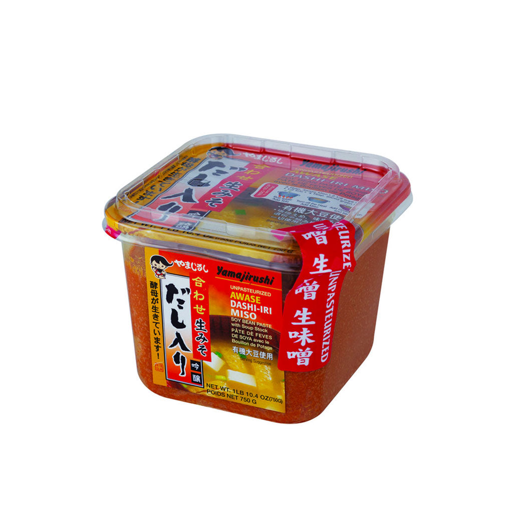 Yamajirushi Awase Nama Miso Seasoned with Dashi 26.5 oz (750g) No Additives, Organic Soybeans