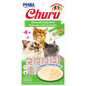 Inaba Churu Chicken with Scallop Puree Cat Treats 4pcs x 0.5 oz