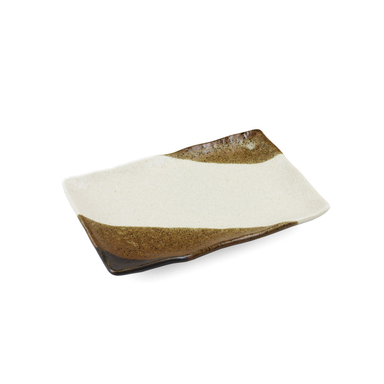 "Shinsaiun Ivory x Brown Matte Rectangular Plate 6.6"" x 4.4"""