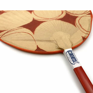 "[NEW] Patterned Shibu Uchiwa Aka Fan with Wooden Handle 7.7"" x 14.75"""