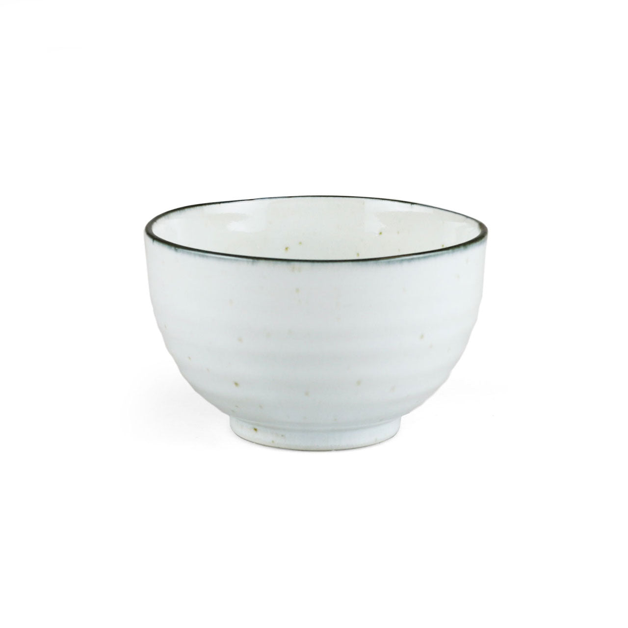 "Shirokinyo Ivory Speckled Donburi Bowl with Indigo Rim 20 fl oz / 5.08"" dia"