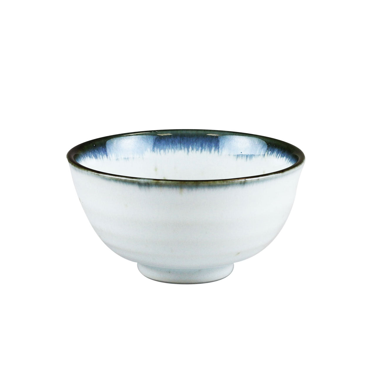 "Shirokinyo Ivory Speckled Rice Bowl with Indigo Rim 13.5 fl oz / 4.96"" dia"