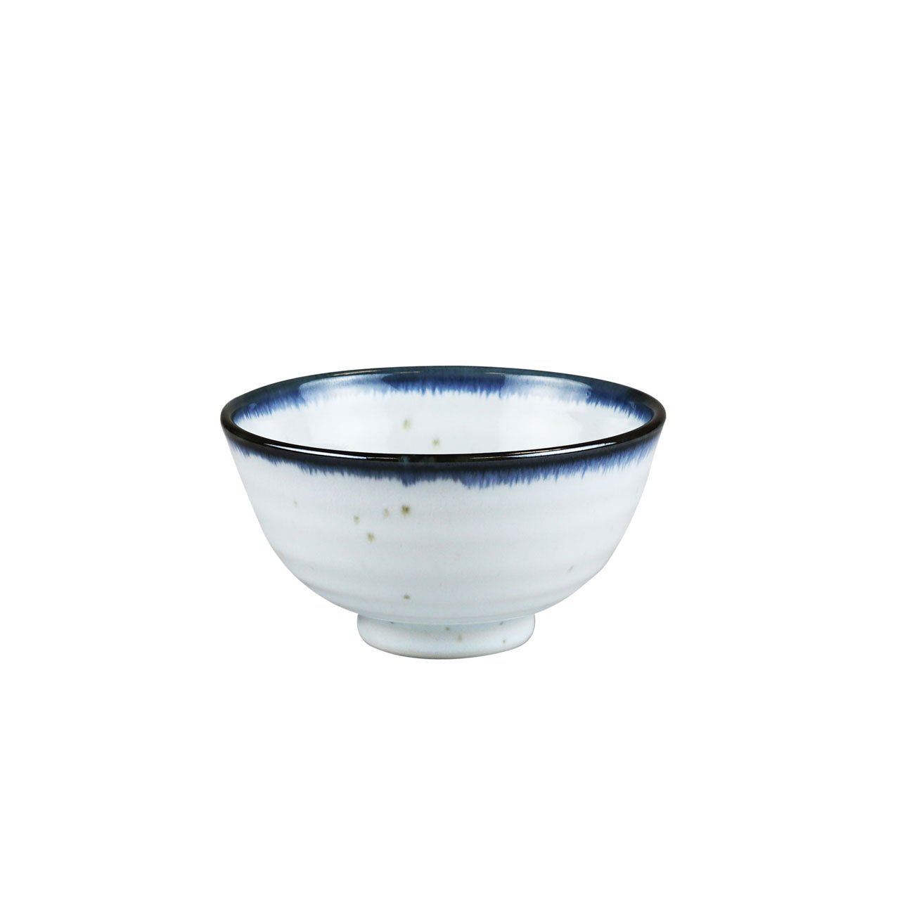 "Shirokinyo Ivory Speckled Rice Bowl with Indigo Rim 9.5 fl oz / 4.45"" dia"