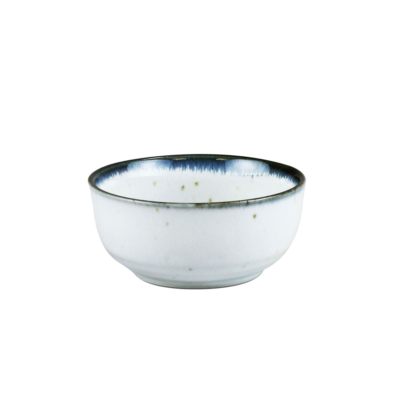 "Shirokinyo Ivory Speckled Kobachi Bowl with Indigo Rim 9 fl oz / 4.36"" dia"