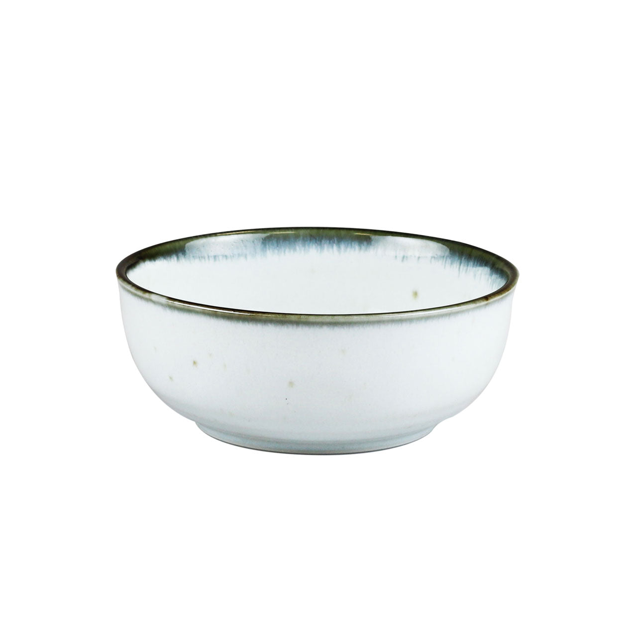 "Shirokinyo Ivory Speckled Salad Bowl with Indigo Rim 27.5 fl oz / 6.45"" dia"