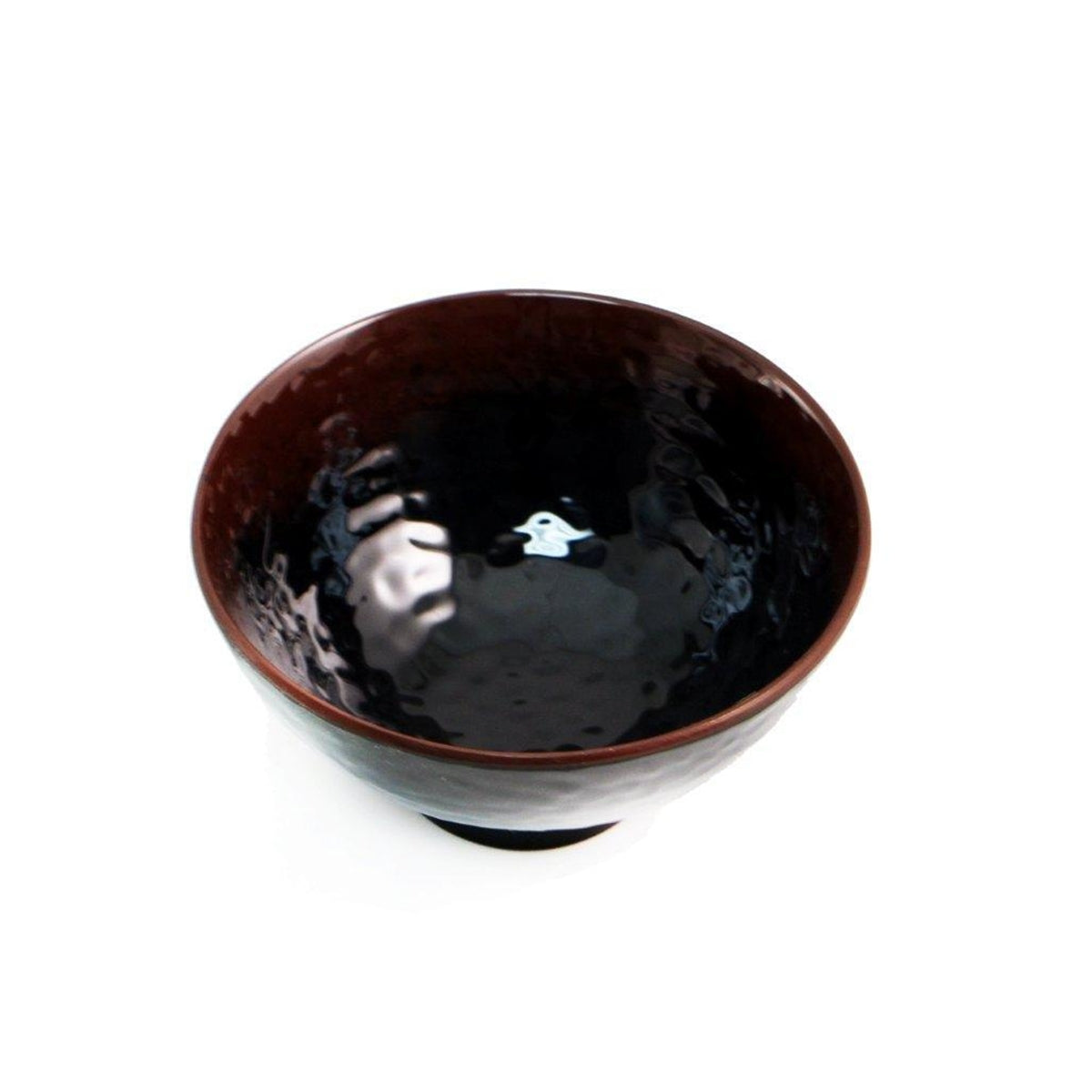"Melamine Black Rice Bowl with Brown Trim 10 fl oz / 4.76"" dia"