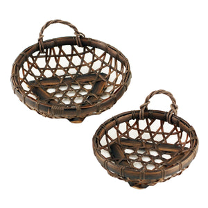 "Washable Dark Brown Round Faux Bamboo Basket 7.13"" dia"