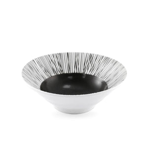 "Black & White Bowl with Lines 13.5 fl oz / 6.38"" dia"
