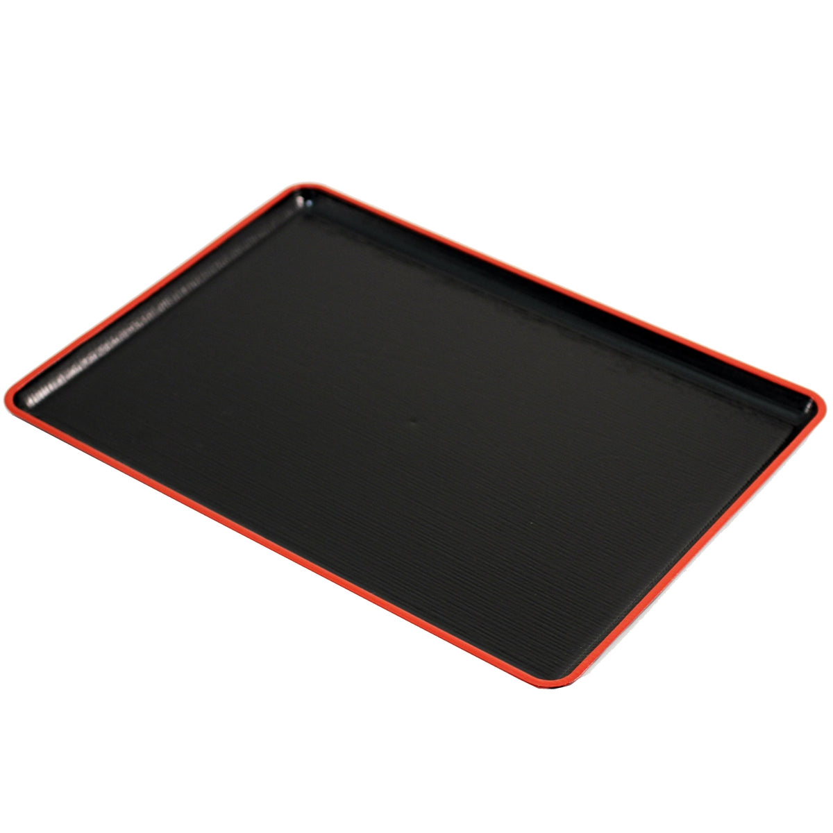 "Black Rectangular Serving Tray with Red Trim 15.35"" x 11.18"""