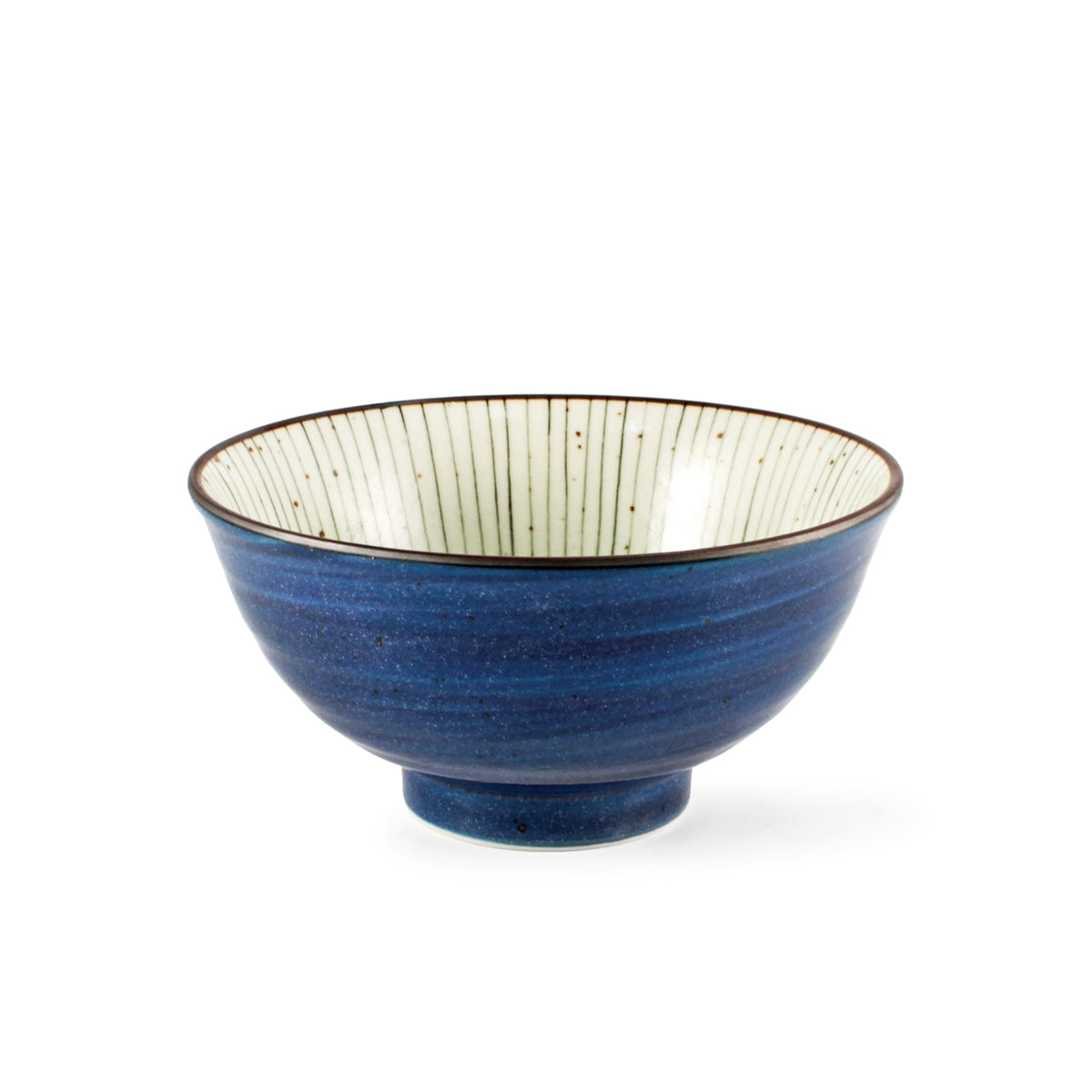"Tokusa Blue Lined Interior Donburi Bowl 22.5 fl oz / 6.25"" dia"