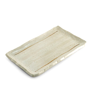"[Clearance] White Glazed Lined Rectangular Plate 9.25"" x 5.7"""