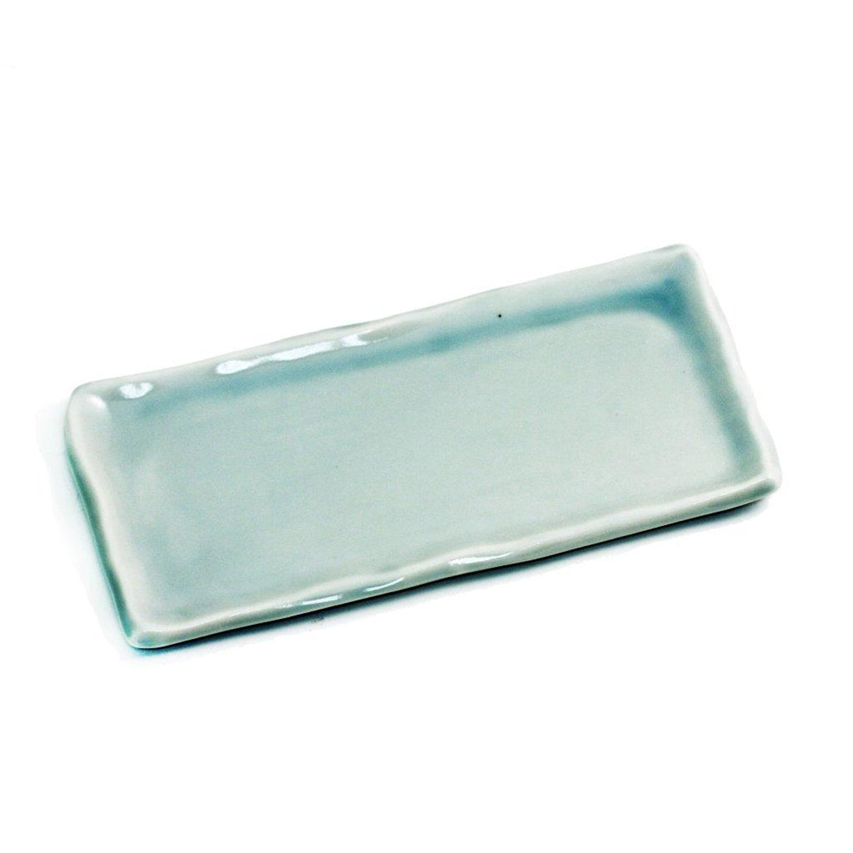 "Wavy Light Sage Rectangular Plate 8.66"" x 4.33"""