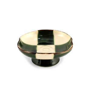 "Oribe Green & Ivory Checkered Small Dish with Stand 4.72"" dia"