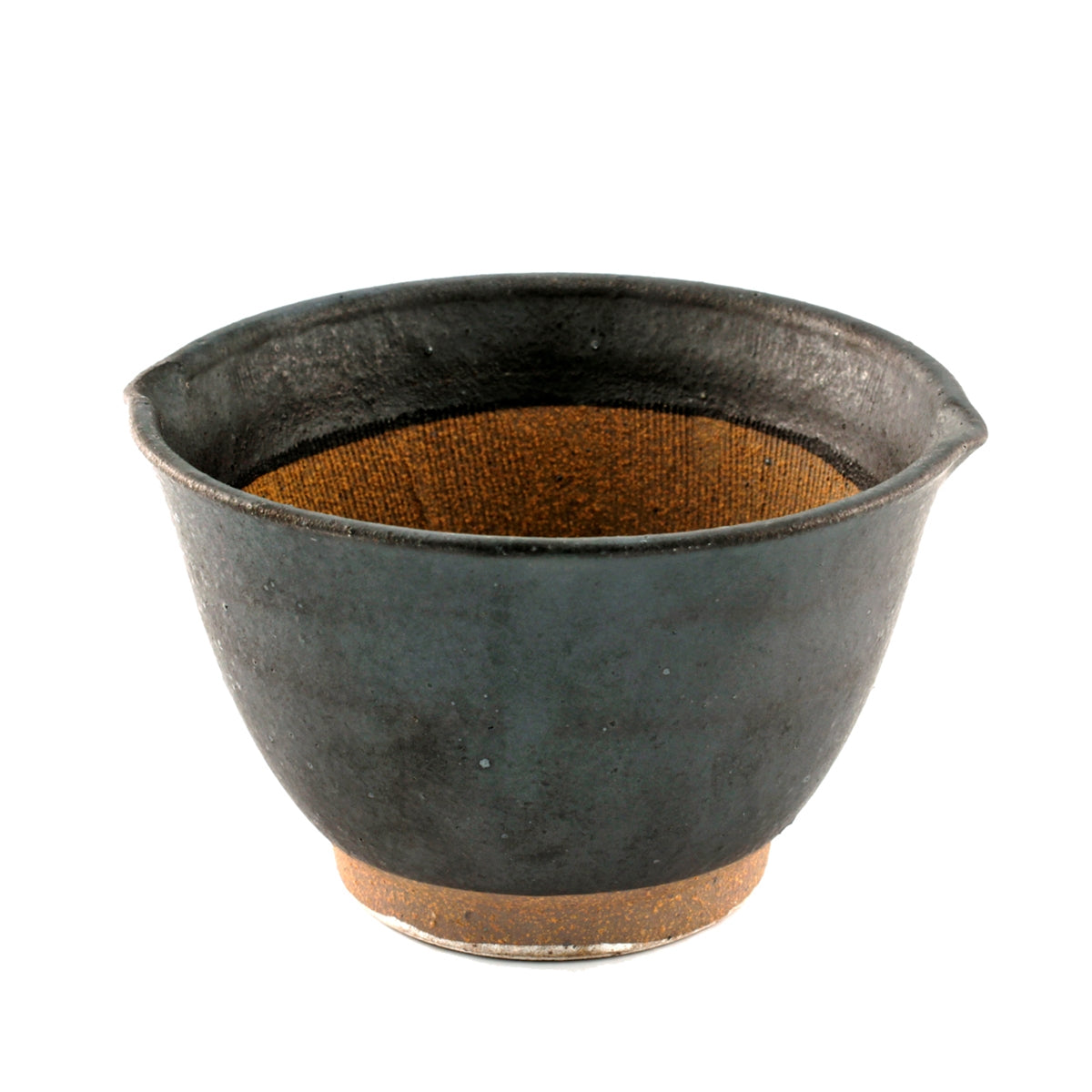 "Black Double Lipped Large Bowl with Japanese-style Mortar (Suribachi) 31 fl oz / 6.02"" dia"