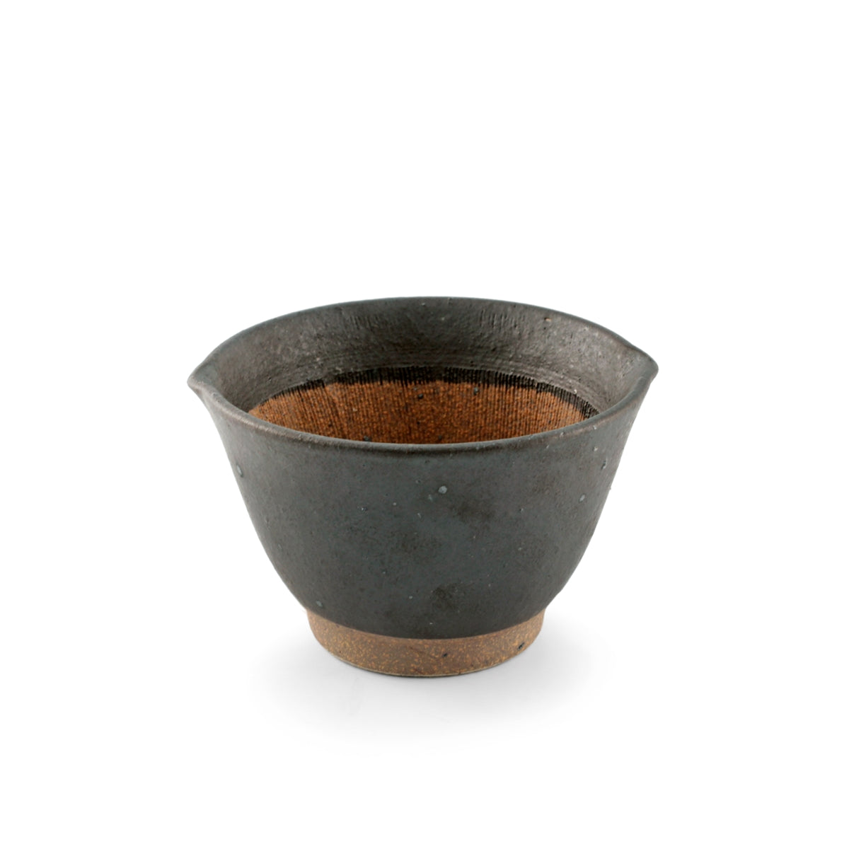 "Black Double Lipped Medium Bowl with Japanese-style Mortar (Suribachi) 14.5 fl oz / 4.72"" dia"