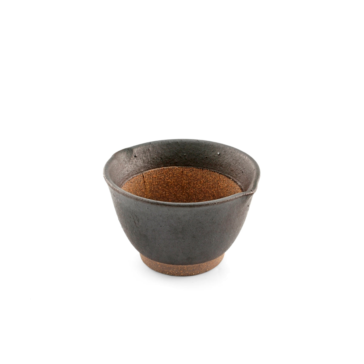 "Black Double Lipped Small Bowl with Japanese-style Mortar (Suribachi) 9 fl oz / 4.09"" dia"