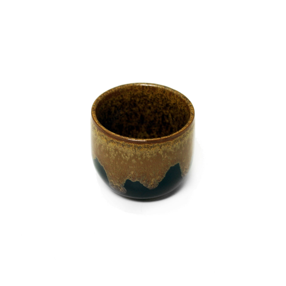 Brown & Black Ceramic Sake Cup 1.5 fl oz