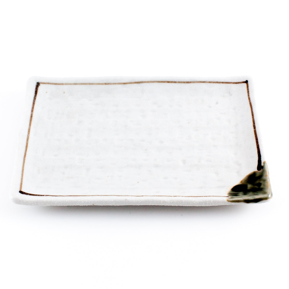 "Shino White Rectangular Plate with Brown Line 6.97"" x 4.65"""