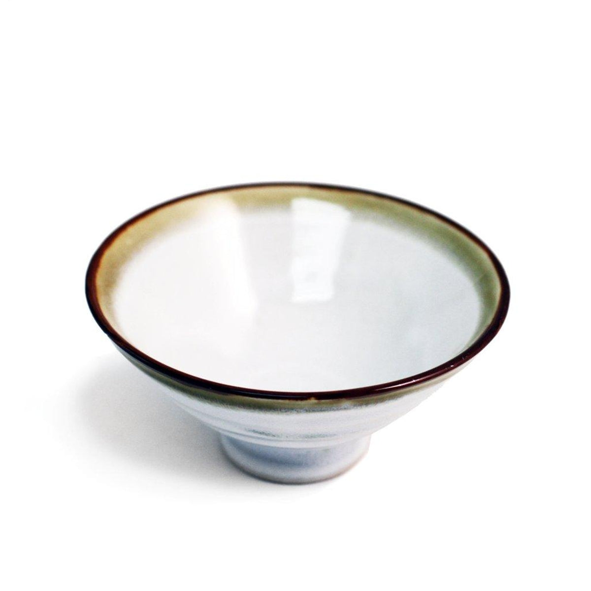 "White Rice Bowl with Brown Trim 9 fl oz / 4.96"" dia"