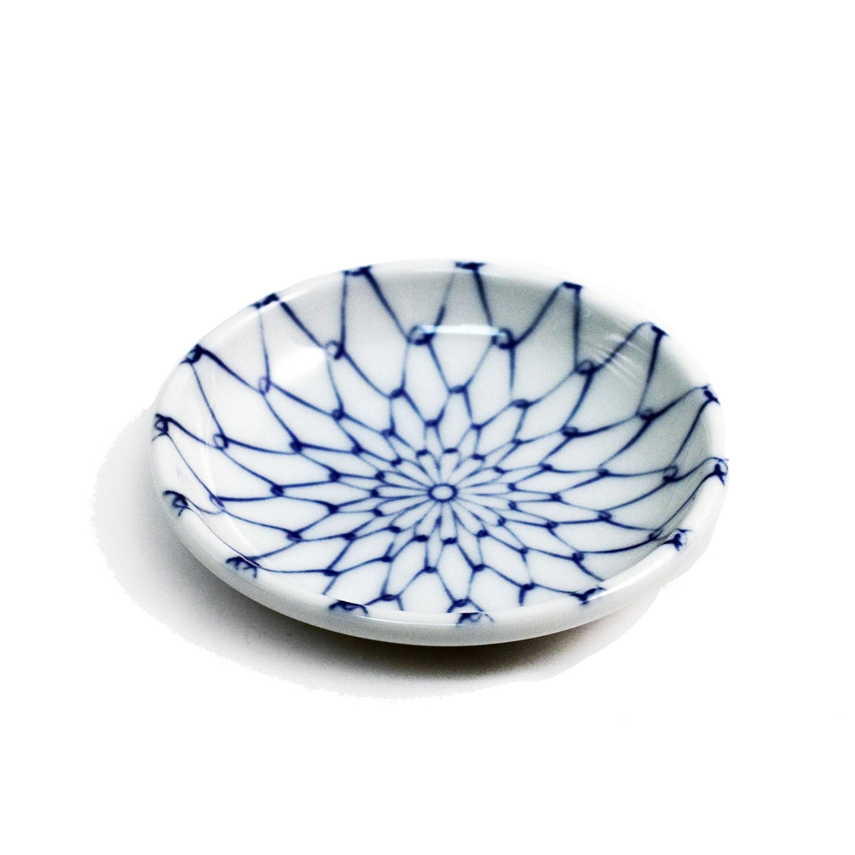 "Blue Woven Flower Soy Sauce Dish 3.75"" dia"