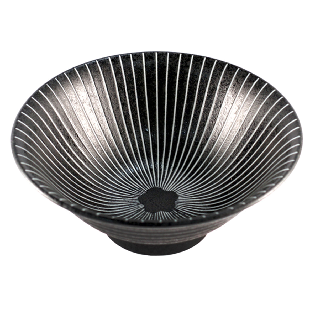 "Black Bowl with Stripes 31 fl oz / 7.64"" dia"