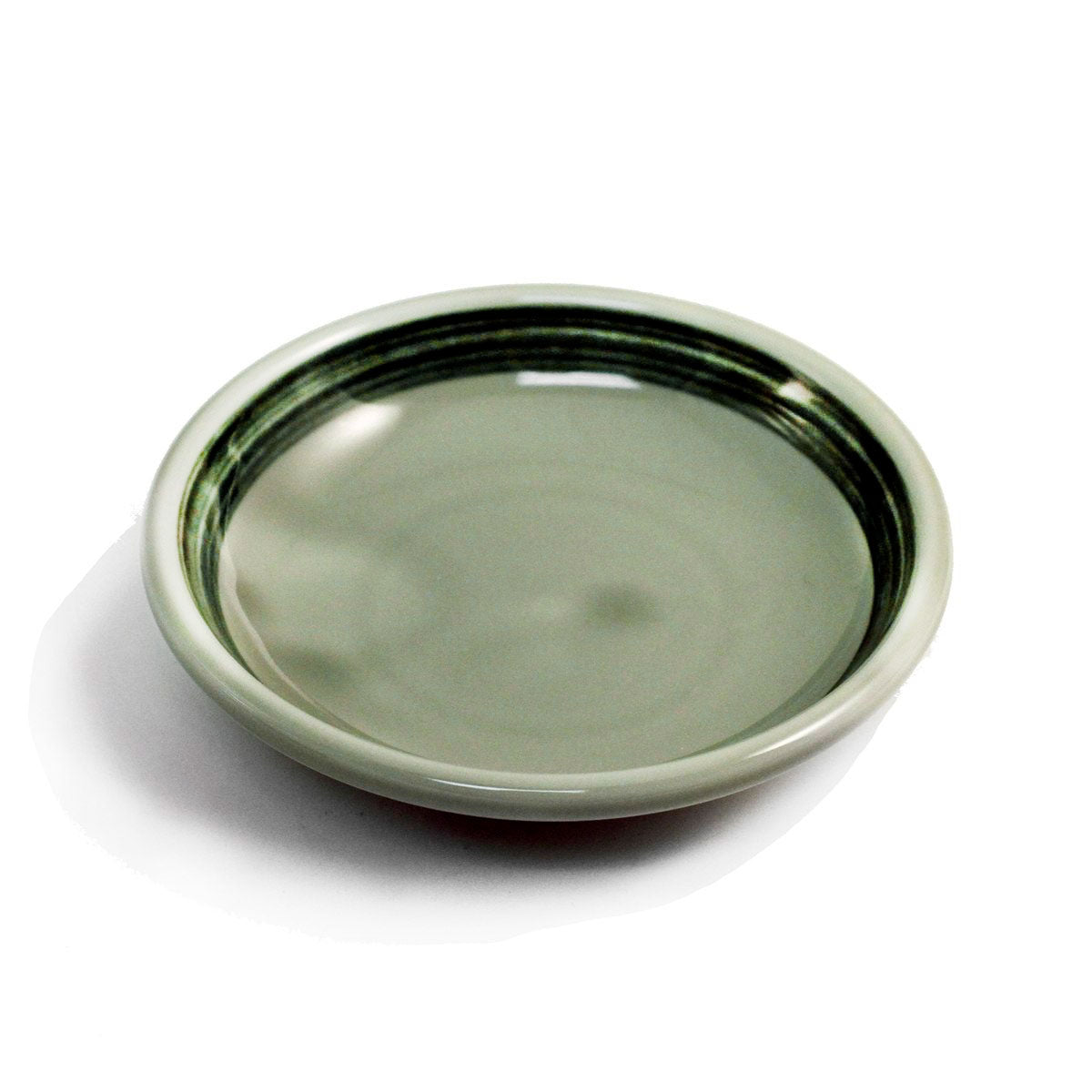 "Sage Soy Sauce Dish with Green Border 3.75"" dia"
