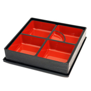 "[Clearance] Black Square Bento Box with Inner Compartment Tray and Lid 10.12"" x 10.12"""