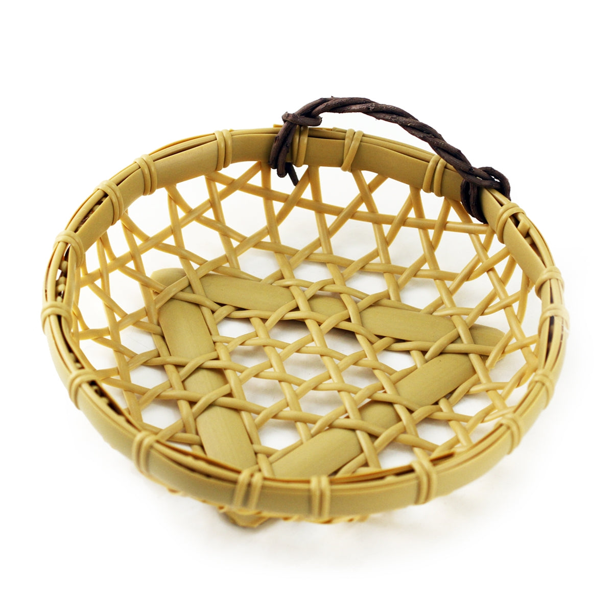 "Washable Round Faux Bamboo Basket 5.88"" dia"