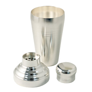 Yukiwa Matte Silver-Plated Baron 3-Piece Cocktail Shaker with Round Cap 510ml (17.2 oz)