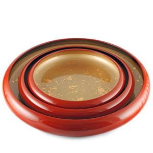 "Red Sushi Serving Tray (Sushi Oke) with Gold Interior 12.91"" dia"