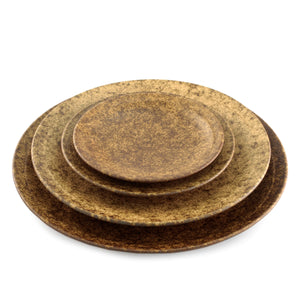 "[Clearance] Textured Small Round Plate Earthy Brown Ceramic 6"" dia"
