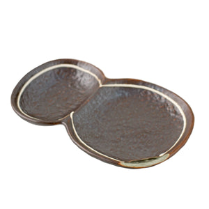 "2 Compartment Brown Plate 7.24"" x 4.69"""
