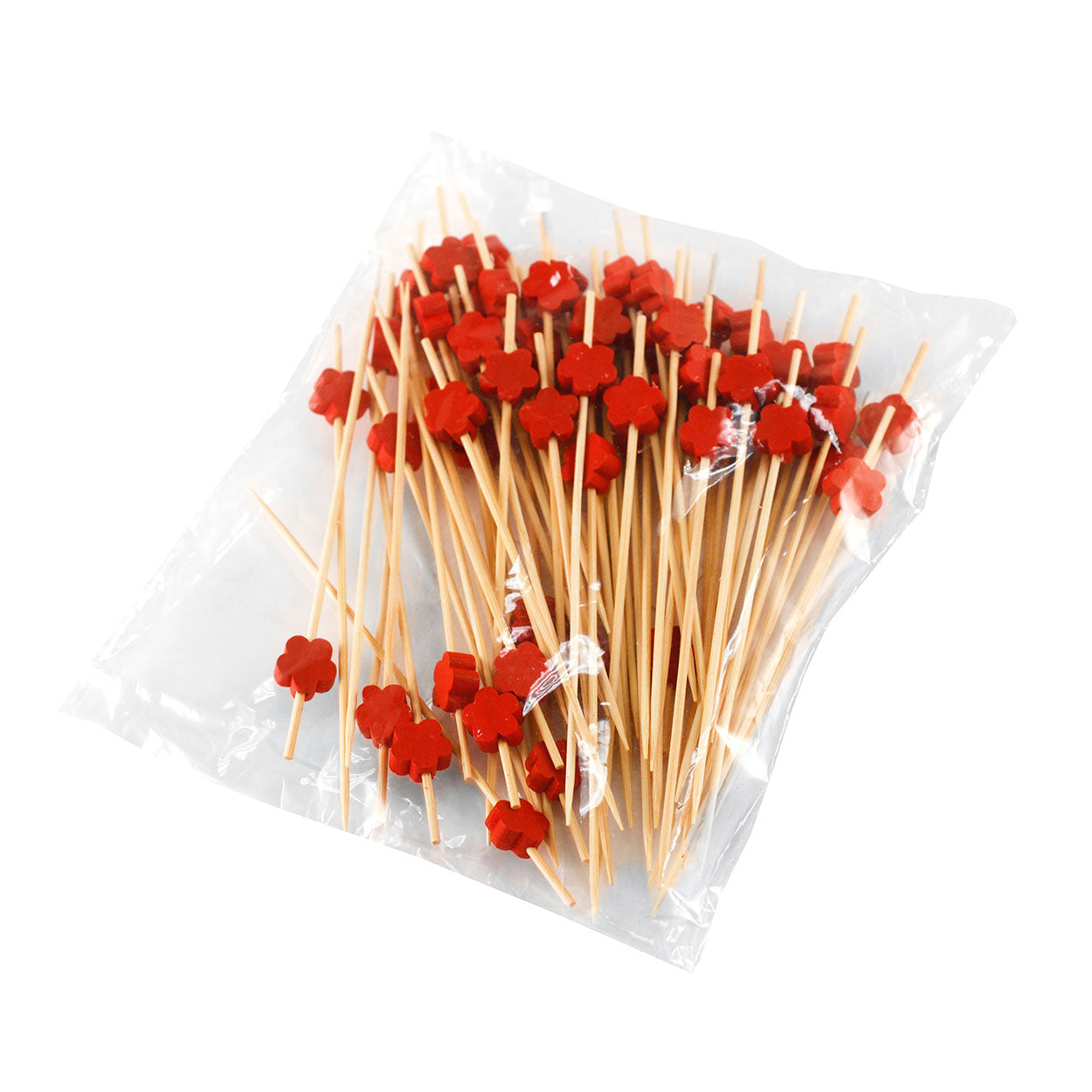 "[Clearance] Decorative Picks for Appetizers and Cocktails Red Flower 4.72"" (100/pack)"