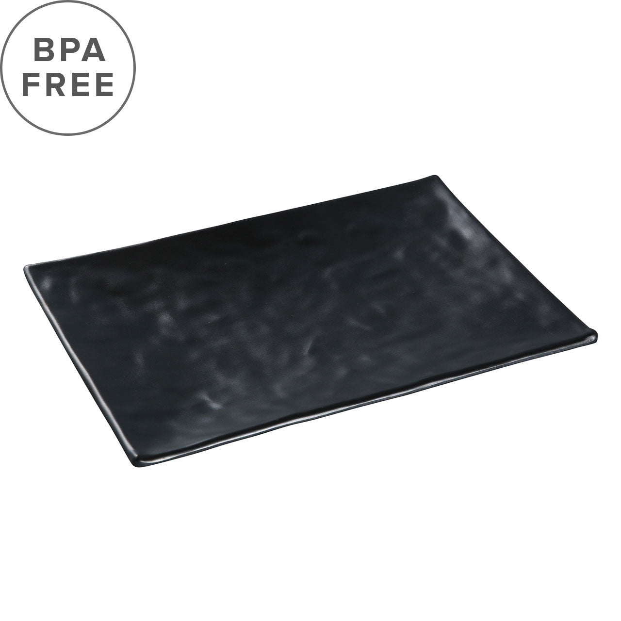 "Melamine Black Matte Textured Rectangular Plate 9.84"" x 6.81"""