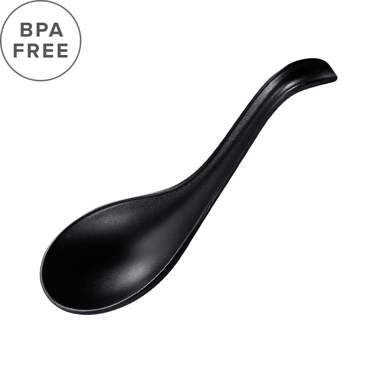 "Melamine Black Matte Renge Ramen Spoon 6.25"" Length"