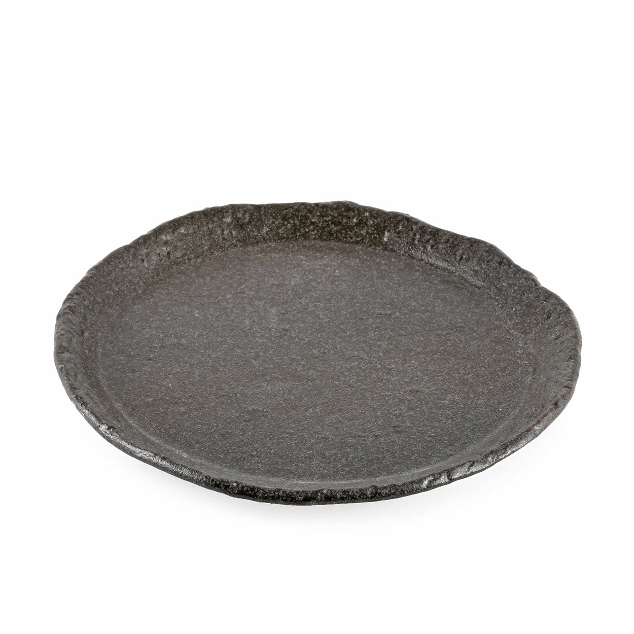 "Textured Charcoal Gray Salad Plate 8.35"" dia"