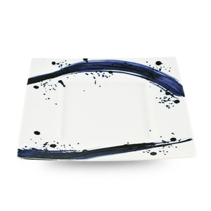 "[Clearance] Blue Brushstroke White Rimmed Square Dinner Plate 12.32"" x 12.32"""