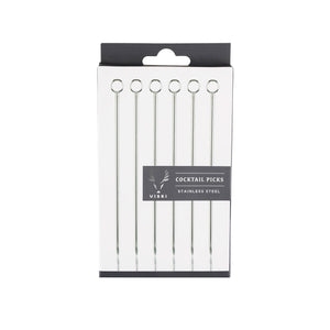 "Stainless Steel Cocktail Pick Set 4.25"" (Set of 6)"