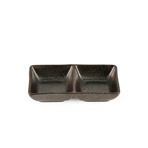 "2 Compartment Black Speckled Sauce Dish 5"" x 2.75"""