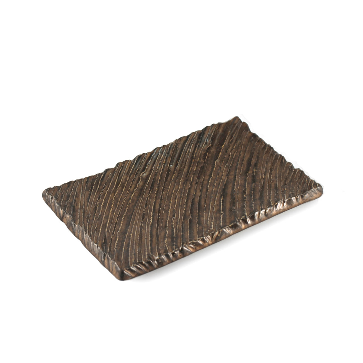 "Kinkessho Bronze Textured Rectangular Plate 6.65"" x 5.12"""