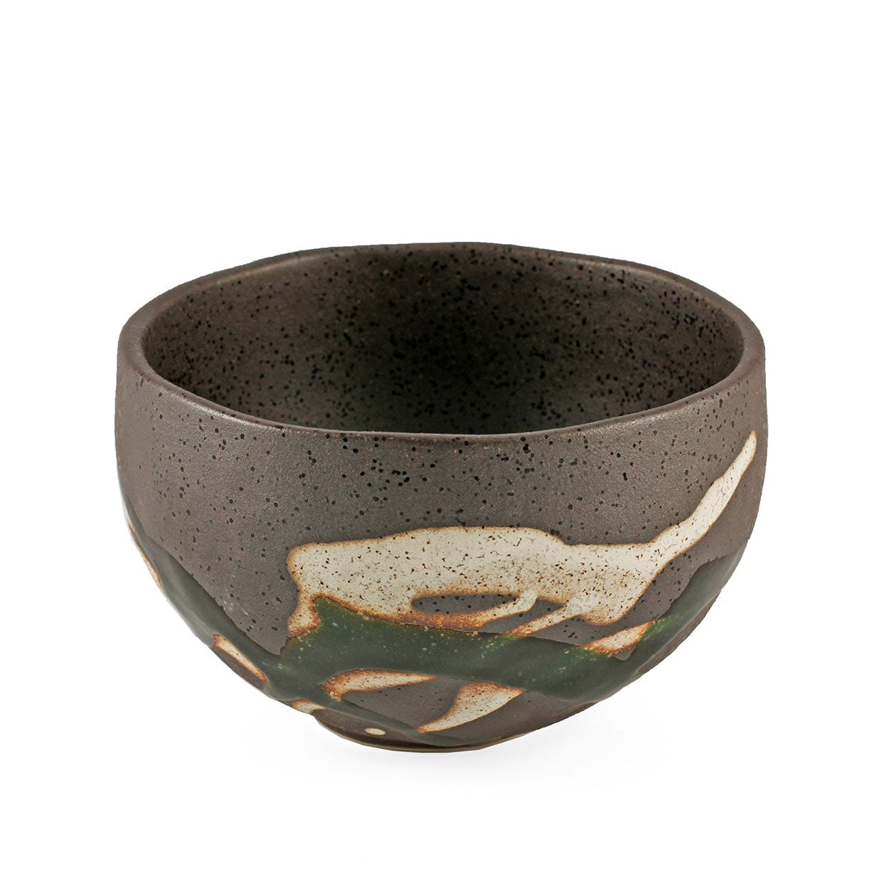 "Grainy Bronze Rice Bowl with Oribe Green Design 18 fl oz / 4.92"" dia"
