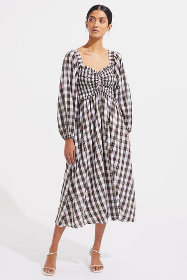 Corrine Dress - Biscuit Check - steele label ?id=28059778449547